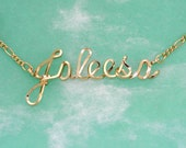 Custom Name Necklace, Personalized Name Necklace, Gold Name on a Chain (12 karat), Name Jewelry, Handmade