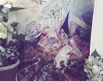 Mountain Flowers - Faerie / Magical / Fantasy Art Print