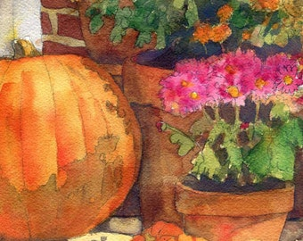 Pumpkin Painting | floral watercolor PRINT |  Flower art | fall | autumn
