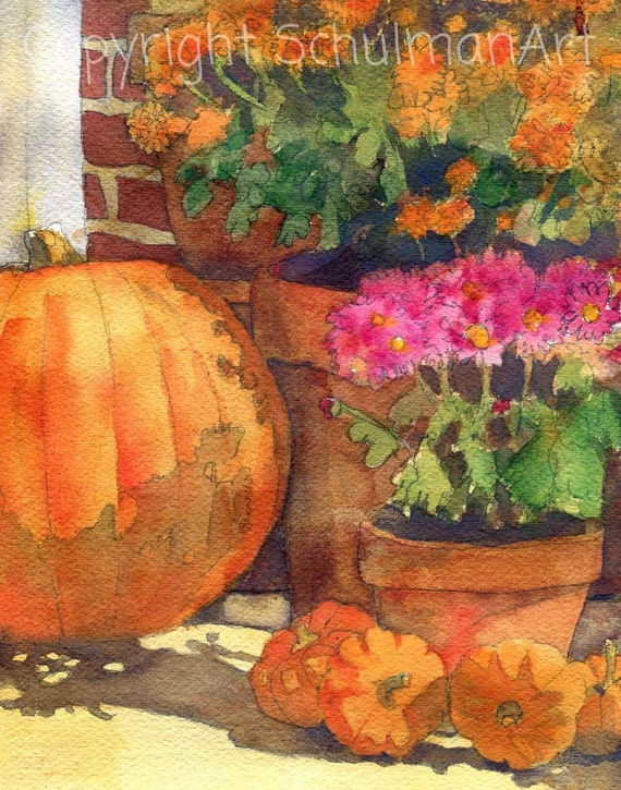 Pumpkin painting floral watercolor print flower art Flower painted pumpkins