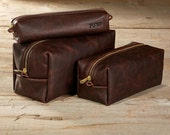 Dark Brown Kamali Leather Toiletry Bag Travel Shaving Dopp Kit with Free Monogram Gift for Man Groomsmen Groom Wedding Grad - 3 Sizes