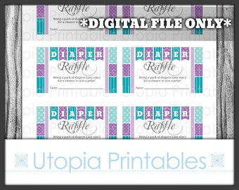 Teal Purple Diaper Raffle Ticket Card Insert Baby Shower Chevron Polka Dot Stripes Theme Party Favor Digital Printable Aqua Blue Grey