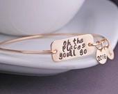 Oh the Places You'll Go Bracelet, 2015,  Graduation Jewelry, Graduation Gift, Dr. Suess Bangle Bracelet
