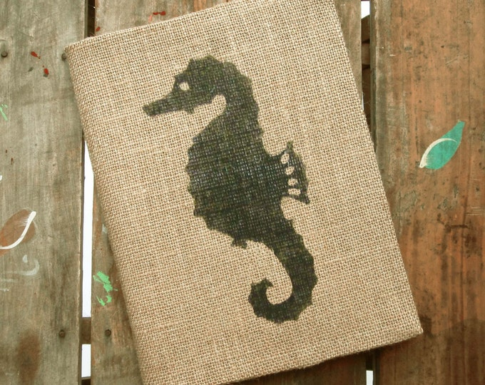 Seahorse -  Burlap Journal  - Refillable Journal Cover  - Notebook included - Seahorse Journal - Nautical Journal