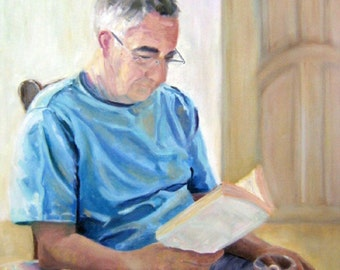 Original Custom Portrait Painting from your photo, 12x16in oil painting on canvas, husband, Dad, Mom, grandma, grandad