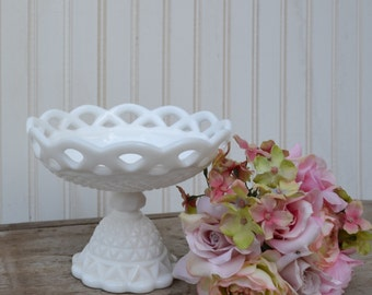 Imperial Glass Compote - Milk Glass - Royal Hill Vintage