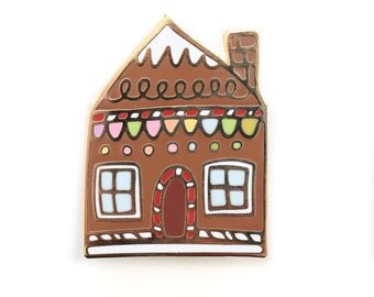 Gingerbread House, Enamel pin (2 sizes)