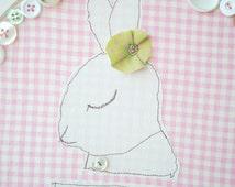 Baby Girl Nursery Decor, Cute Bunny Artwork, Fabric Wall Hanging, Embroidery Hoop Art, Shabby Chic Girls Room, Pink and White, Rabbit Art
