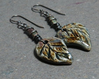 Olive Green Leaf Earrings Rustic Boho Oxidized Sterling Silver Long Ceramic Leaf Gift for Girlfriend