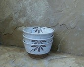 Wee Bowl Set of 3 - Handmade Stoneware Ceramic Pottery - White - Floral Burst - 9 ounce