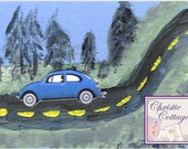 VW Bug, ACEO, Mixed Media Original Art, Blue Slug Bug, Volkswagen