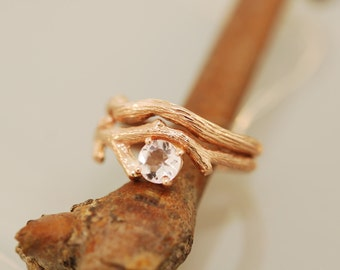 For Genevieve shipping charges Morganite Rose Gold Bud Branch