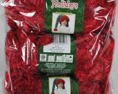 Lot of 3 skeins Bernat Boa Holidays Eyelash Faux Fur Yarn - Santa's Suit Red - Free Shipping