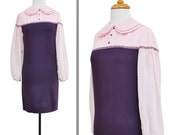 SALE Sweetheart Pink and Purple Shift Dress with Pan Collar