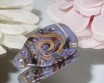 Handmade Lampwork Glass Bead Tab Purple Focal- Bastets Beads SRA- Organic Purple