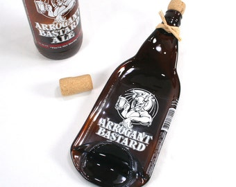 Arrogant Bastard Ale Bottle Molded Spoon Rest Serving Tray with Cork - Recycled Eco-Friendly