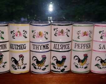Vintage 50's Rooster Motif Book Shaped Spice 6 Jars Japan