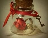 Custom Miniature Valentine loveletter heart in bottle