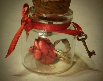 Custom Miniature Valentine loveletter heart in bottle