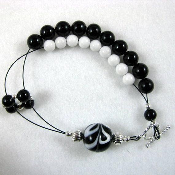 Dark Shadows Black Onyx Row Counting Bracelet for Knitting and Crochet - Item No. 822