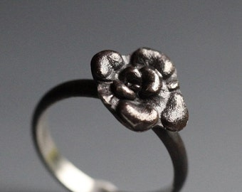 VALENTINE SALE Camellia ring, sterling silver flower ring, ready to ship