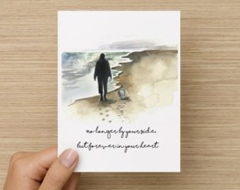 No Longer By Your Side But Forever in Your Heart Dog Sympathy Recycled Paper Folded Greeting Card