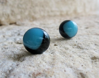 Glass Earrings, Post Earrings, Button Earrings, Fused Glass Earrings, Everyday Earrings, Handmade Earrings, Black and Blue