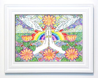 Greeting Card, Hands, Heart, Nature, Healing, Spiritual, Eco-Friendly, Eco Art, Rainbow, Peace, Dove, Prayer, Lotus, Bohemian, Kara Rane