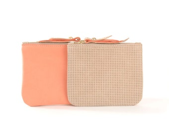 Coral/Tan Leather SL Pouch