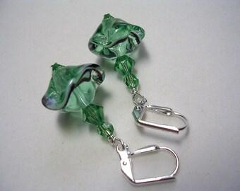 Erinite Green Earrings Ocean Waves Lampwork Glass Swarovski Crystal Wire Wrapped Leverback Hooks Ruffled Light Green Dangle Earrings