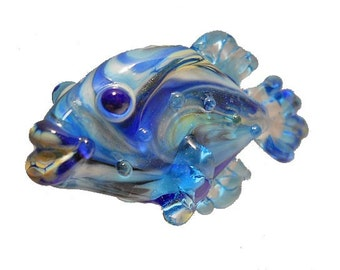 Aqua & blue Glass fish lampwork glass bead necklace, reversible ocean pendant, diver's handmade focal bead, jewelry supplies, SRAJD, CGGE