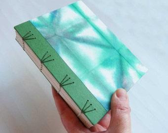 Handbound Journal with emerald green shibori cover