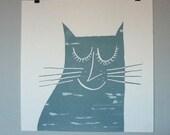 Happy Cat mono screenprint blue-grey