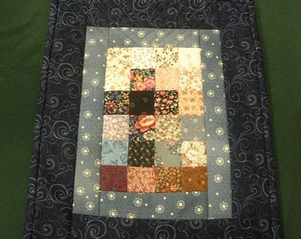 Watercolor Cross quilted wallhanging, predominately blue