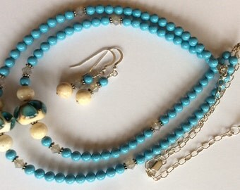 Hand Made Glass Lampwork Beads  Sterling SIlver Adjustable Necklace Earrings Set Turquoise Swarovski