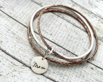 personalized bangle-stacked bangle bracelets-bangle bracelet- stacked bangles- personalized stacking bangles- mothers day gift