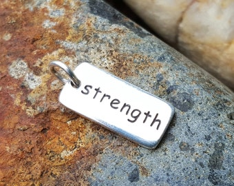 Strength Charm - Quantity Discount - Sterling Silver Strength Necklace - Empowering