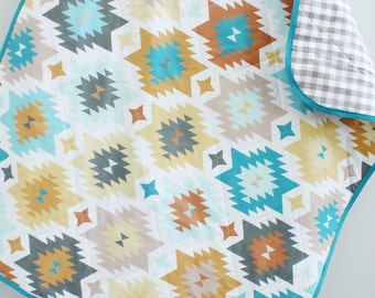baby quilt turquoise aztec southwest bohemian by PETUNIAS blanket nursery decor shower gift newborn photo prop hipster modern chevron gray