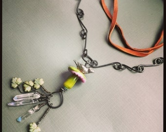 Bird on Mushroom Talisman Charm Necklace with wire and leather