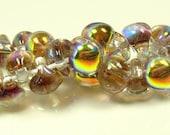 40% Off Sale 10mm Unicorne Tear Drop Lampwork Beads - Rustic Brown Metallic - 4 Pieces - 22012