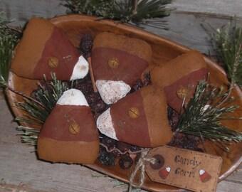 5  Hand Painted Primitive Rustic Folk Art Miniature Mini Little Candy Corn Fall Seasonal HALLOWEEN Bowl Fillers Ornies Ornaments Tucks