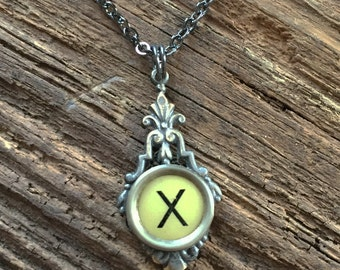 Letter X  Vintage Typewriter Key  Drop Necklace