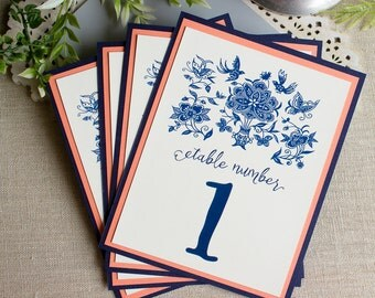 Indigo Frame Wedding Reception Table Numbers - Chinese Indigo table markers - navy and coral wedding - navy blue wedding - mosaic tile