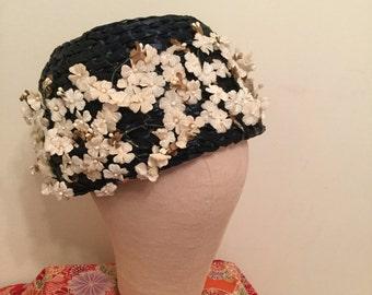 Sweet Vintage Straw Hat with Velvet Flowers