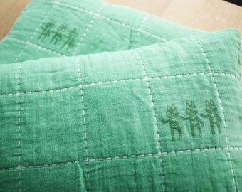 Green Gauze pillow cases