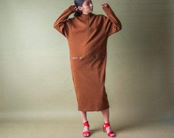 brown knit zip long dress / knit maxi sleeve / minimalist knit dress / m / 1805d