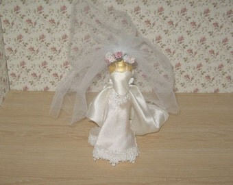Dollhouse miniature silk wedding gown and veil on mannequin