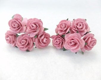 10 25mm dusty pink paper roses