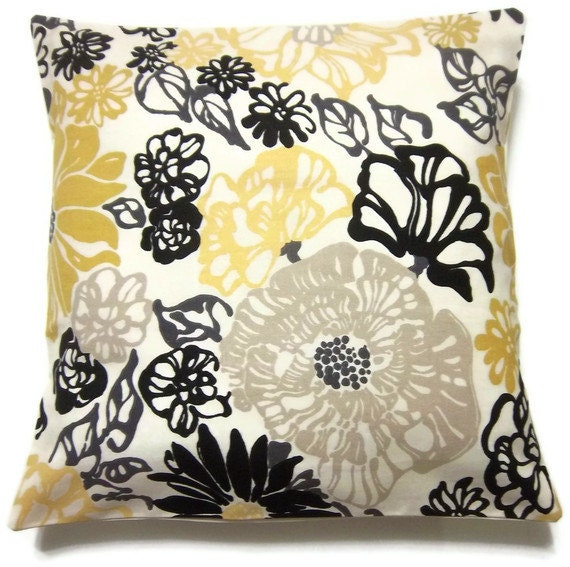 Decorative Pillow Cover Modern Floral Black by LynnesThisandThat