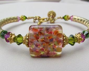 Confetti Garden Lampwork Bangle Bracelet